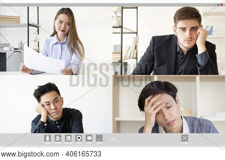 Video Conference. Group Chat. Remote Job. Business Teleconference Wfh. Tired Bored Diverse Multiethn