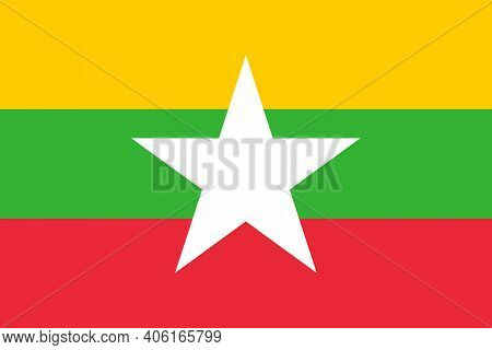 National Flag Of Myanmar(burma) In The Original Colours And Proportions