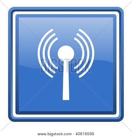 wifi blue glossy square web icon isolated