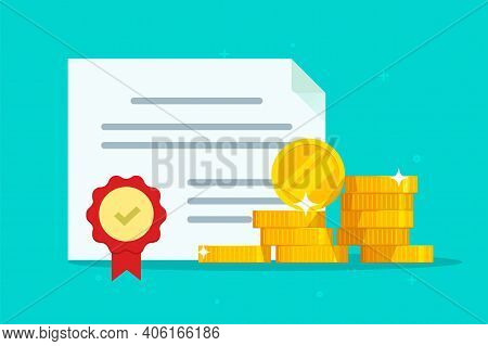 Investment Bond Or Stock Obligation Document With Seal Stamp And Money Vector Flat Cartoon Illustrat