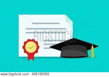 Graduation Tuition Diploma Concept Vector Flat Cartoon Illustration, Education College University Ha