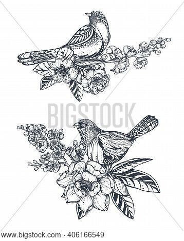 Vector Bouquet Of Doodle Hand Drawn Magnolia, Sakura Flowers And Birds. Beautiful Romantic Elegant F