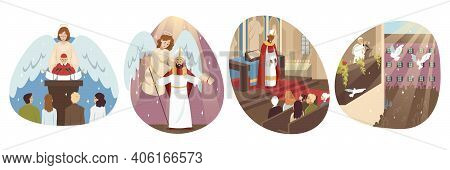 Religion, Christianity, Holiday Set Concept. Collection Of Men Catholic Orthodox Priests Pope Cartoo