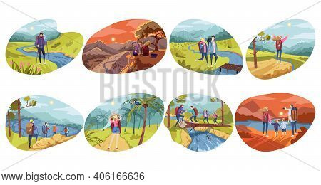 Hiking, Tourism, Traveling Set Concept. Collection Of People Men Women Hikers Backpackers Tourists T
