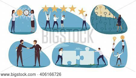 Business, Management, Coworking Set Concept. Collection Of Businesspeople Men Women Searching Proble