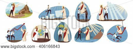Religion, Business, Support Set Concept. Jesus Christ Biblical Religious Character Helping Protects