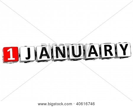 3D New Year Button Click Here Block Text