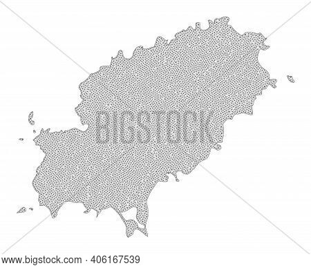 Polygonal Mesh Map Of Ibiza Island In High Resolution. Mesh Lines, Triangles And Dots Form Map Of Ib