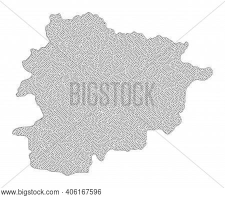 Polygonal Mesh Map Of Andorra In High Detail Resolution. Mesh Lines, Triangles And Points Form Map O