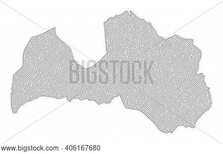 Polygonal Mesh Map Of Latvia In High Resolution. Mesh Lines, Triangles And Points Form Map Of Latvia