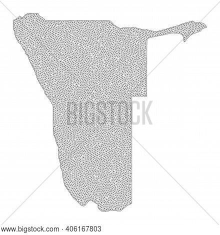 Polygonal Mesh Map Of Namibia In High Resolution. Mesh Lines, Triangles And Dots Form Map Of Namibia