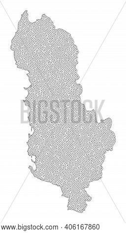 Polygonal Mesh Map Of Albania In High Resolution. Mesh Lines, Triangles And Dots Form Map Of Albania