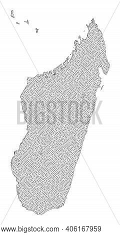 Polygonal Mesh Map Of Madagascar Island In High Detail Resolution. Mesh Lines, Triangles And Points