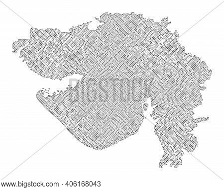 Polygonal Mesh Map Of Gujarat State In High Resolution. Mesh Lines, Triangles And Points Form Map Of