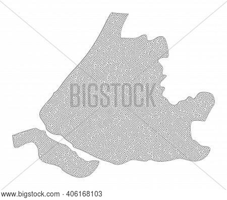 Polygonal Mesh Map Of South Holland In High Resolution. Mesh Lines, Triangles And Points Form Map Of