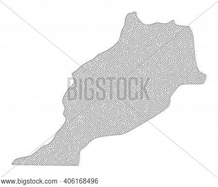 Polygonal Mesh Map Of Morocco In High Resolution. Mesh Lines, Triangles And Dots Form Map Of Morocco