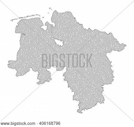Polygonal Mesh Map Of Lower Saxony State In High Resolution. Mesh Lines, Triangles And Dots Form Map