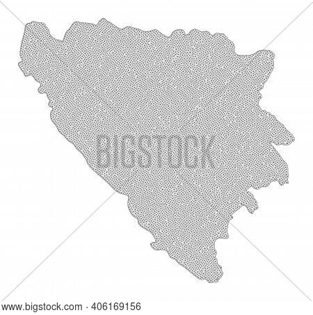 Polygonal Mesh Map Of Bosnia And Herzegovina In High Detail Resolution. Mesh Lines, Triangles And Do