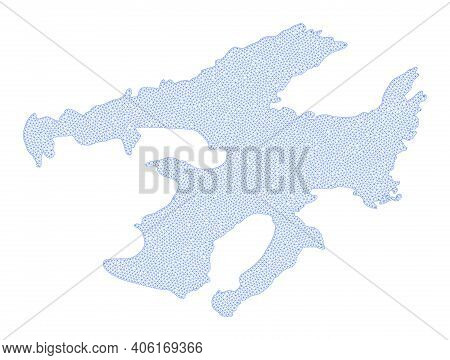 Polygonal Mesh Map Of Great Bear Lake In High Detail Resolution. Mesh Lines, Triangles And Dots Form