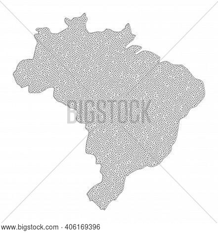 Polygonal Mesh Map Of Brazil In High Resolution. Mesh Lines, Triangles And Points Form Map Of Brazil
