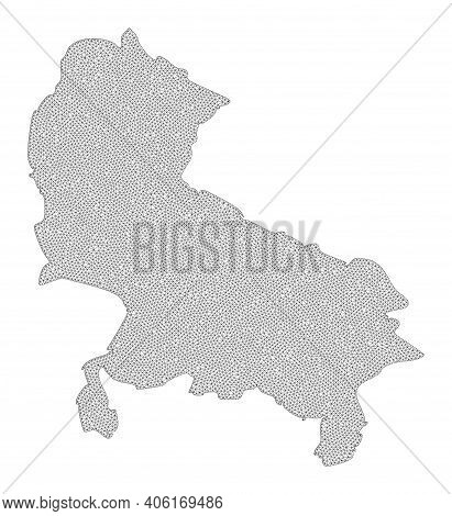 Polygonal Mesh Map Of Uttar Pradesh State In High Detail Resolution. Mesh Lines, Triangles And Point