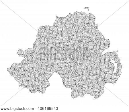 Polygonal Mesh Map Of Northern Ireland In High Resolution. Mesh Lines, Triangles And Dots Form Map O