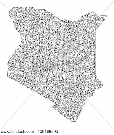 Polygonal Mesh Map Of Kenya In High Detail Resolution. Mesh Lines, Triangles And Dots Form Map Of Ke
