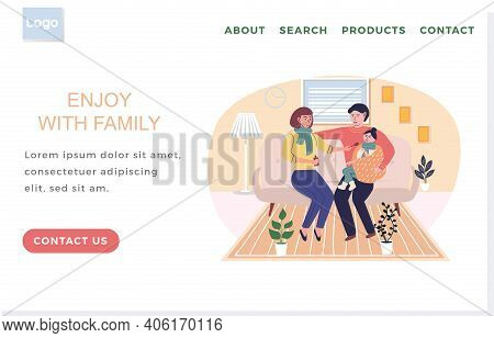 Landing Page Template With Relatives On Self-isolation. Parents Treat Child. Enjoy With Family Conce
