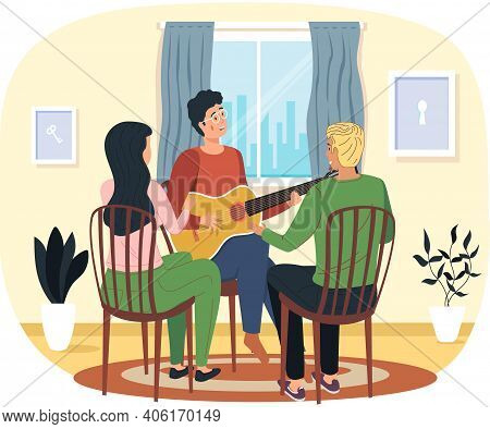 Man Sings Song To Audience. People At Home Enjoy Time With Acoustic Guitar And Listen To Live Music.