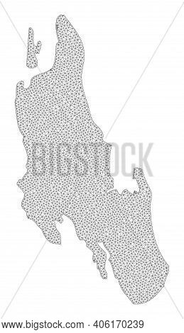 Polygonal Mesh Map Of Zanzibar Island In High Detail Resolution. Mesh Lines, Triangles And Points Fo