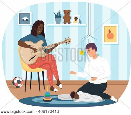 Woman Sings Song To Husband. Mom Plays Guitar. Dad Puts Baby To Bed. Parents Sing To Child At Night.