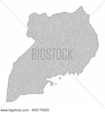 Polygonal Mesh Map Of Uganda In High Detail Resolution. Mesh Lines, Triangles And Dots Form Map Of U