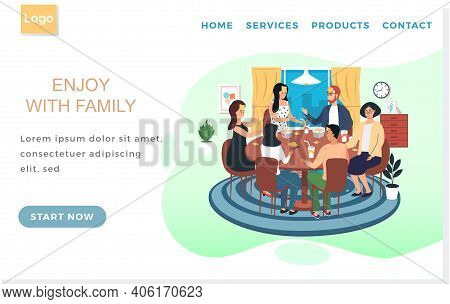 Landing Page Template With Friends Playing Who Am I. People With Board Game Spend Time Together In A