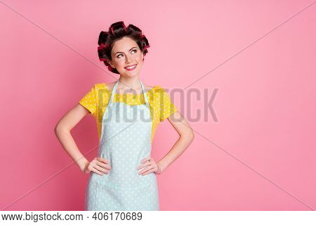 Portrait Of Her She Nice-looking Creative Cheerful Brown-haired Housewife Wearing Rollers Thinking I