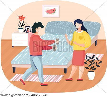 Man Brings Coffee To Woman. Communication, Discussion Concept. Characters Spend Time At Home. Employ