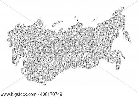 Polygonal Mesh Map Of Ussr In High Detail Resolution. Mesh Lines, Triangles And Dots Form Map Of Uss