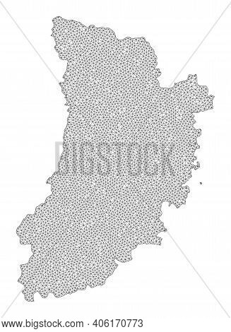Polygonal Mesh Map Of Lleida Province In High Detail Resolution. Mesh Lines, Triangles And Points Fo