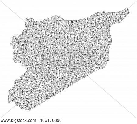 Polygonal Mesh Map Of Syria In High Detail Resolution. Mesh Lines, Triangles And Points Form Map Of