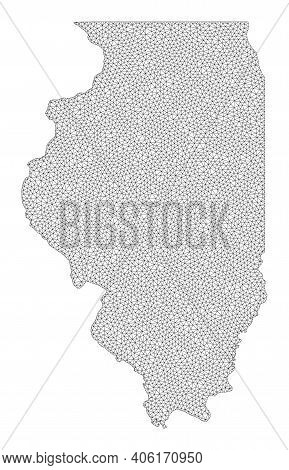 Polygonal Mesh Map Of Illinois State In High Detail Resolution. Mesh Lines, Triangles And Dots Form