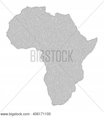 Polygonal Mesh Map Of Africa In High Resolution. Mesh Lines, Triangles And Dots Form Map Of Africa.