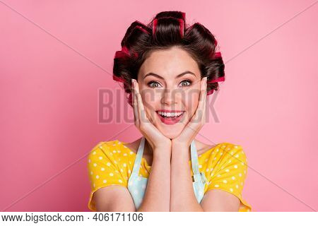 Close-up Portrait Of Her She Nice-looking Delighted Cheerful Brown-haired Housewife Wearing Rollers