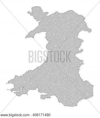Polygonal Mesh Map Of Wales In High Resolution. Mesh Lines, Triangles And Dots Form Map Of Wales. Hi