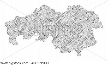 Polygonal Mesh Map Of North Brabant Province In High Detail Resolution. Mesh Lines, Triangles And Po