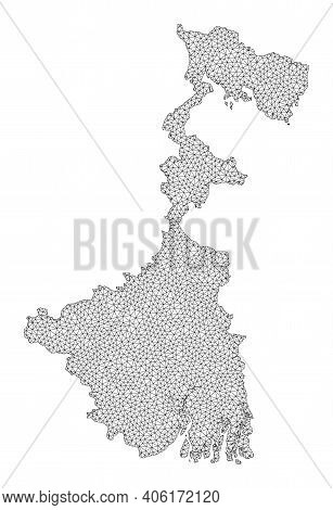 Polygonal Mesh Map Of West Bengal State In High Resolution. Mesh Lines, Triangles And Points Form Ma
