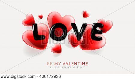 Valentines Day Background With Heart Shape And Lettering Love. Romantic Banner, Surprise Poster, Fly