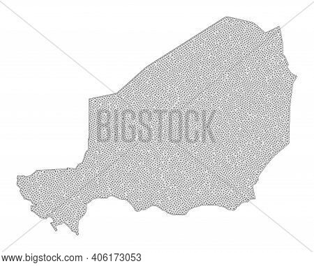 Polygonal Mesh Map Of Niger In High Detail Resolution. Mesh Lines, Triangles And Dots Form Map Of Ni