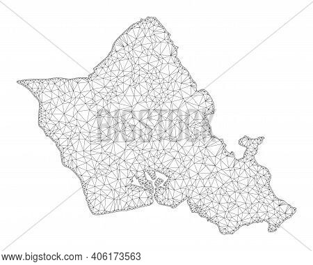 Polygonal Mesh Map Of Oahu Island In High Detail Resolution. Mesh Lines, Triangles And Points Form M