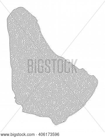 Polygonal Mesh Map Of Barbados In High Detail Resolution. Mesh Lines, Triangles And Dots Form Map Of