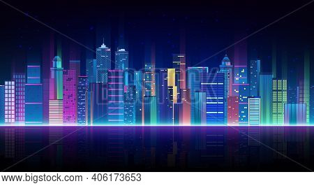 Futuristic Night City. Cityscape On A Dark Background With Bright And Glowing Neon. Night City Illus
