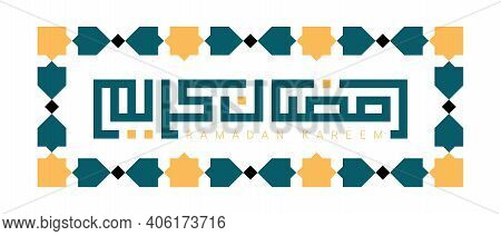 Modern Square Kufic Calligraphy Ramadan Kareem Isolated On White Background. Ramadan Kareem Means Bl